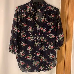 Navy floral tunic blouse